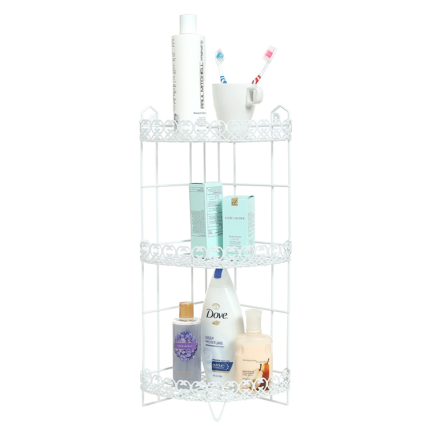 3 Tier Free standing Corner Bathroom Storage Shelf Rack Shower Caddy, White