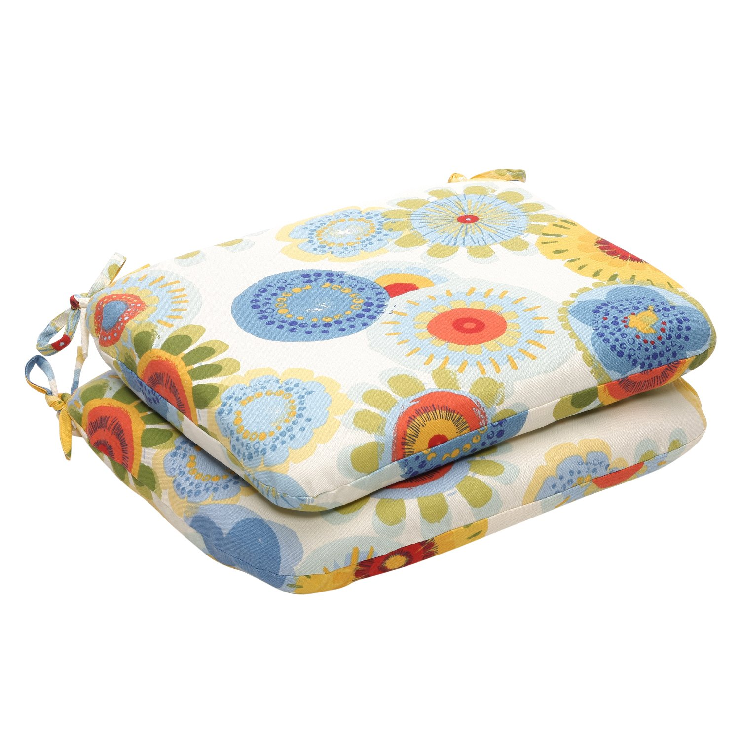 Pillow Perfect Indoor Outdoor Multicolored Floral Round Seat Cushion, 2-Pack
