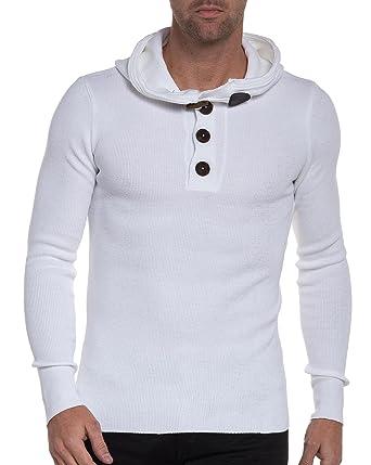 05d10bfd8b03e BLZ Jeans - Pull Basic Blanc côtelé col Boutons à Capuche - Couleur  Blanc -