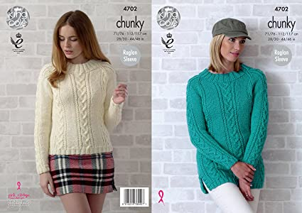 8f5f48fb0 Image Unavailable. Image not available for. Color  King Cole Womens Chunky Knitting  Pattern Ladies Cable Knit ...