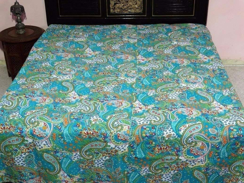 KING Size Kantha Quilt , Kantha Blanket, Bed Cover, Bedspread, Bohemian Bedding 90*108''