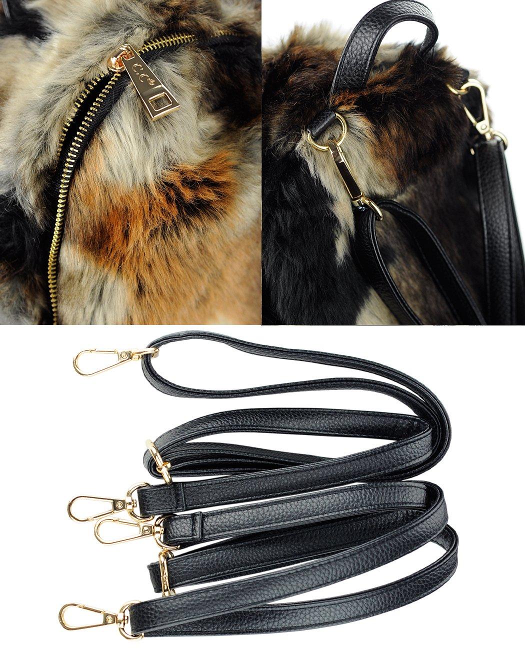 Brown C.C Womens Faux Fur Fuzzy Backpack Schoolbag Shoulder Bag Purse