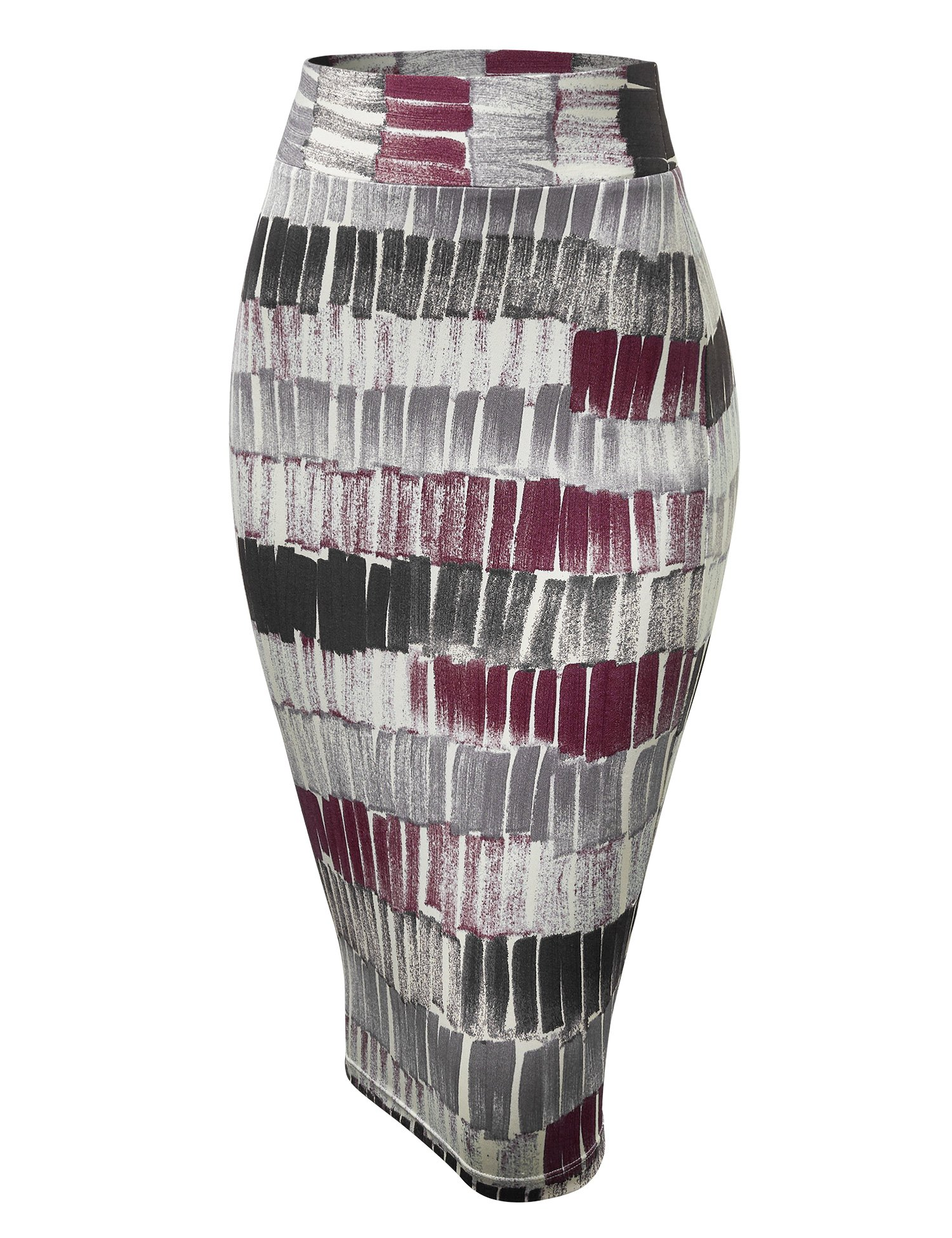 Made By Johnny WB1304 Womens Print Midi Pencil Skirt L Wine_Black