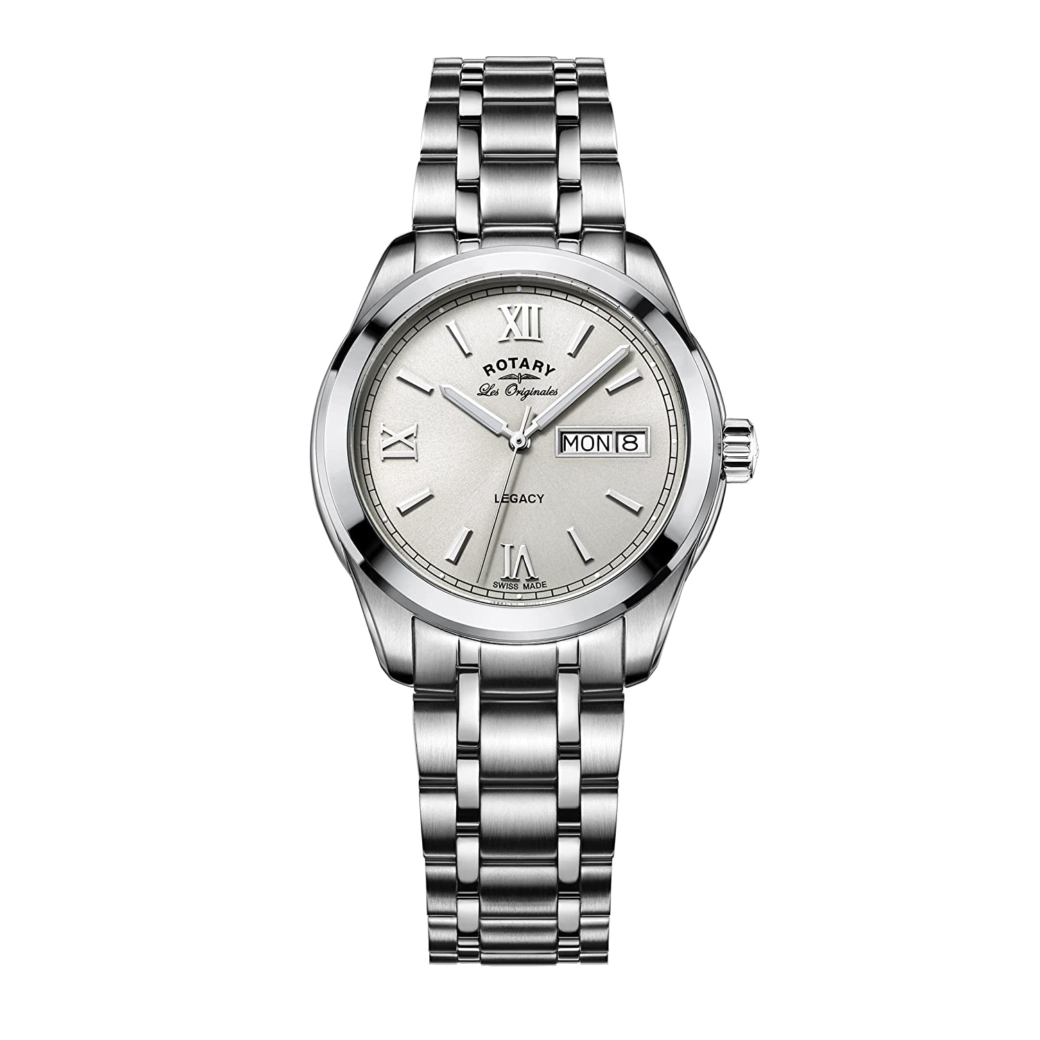 4e17a783214a Rotary Men s Quartz Watch with Off-White Dial Analogue Display and Silver  Stainless Steel Bracelet GB90173 06  Amazon.co.uk  Watches