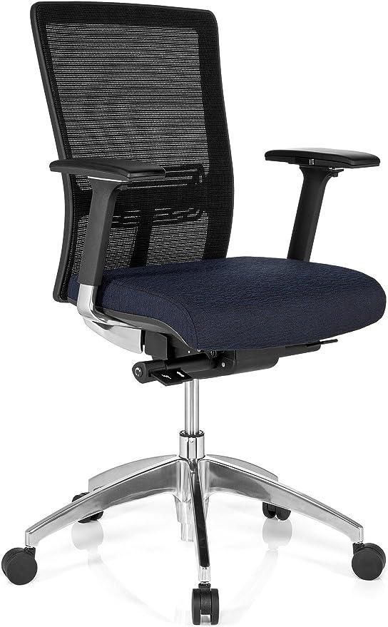 HJH Office Bürostuhl Chefsessel ASTRA BASE Netzstoff Stoff dunkelblau, extrem stabiler Polsterstoff, Beinfreiheit durch Schiebesitz, Drehstuhl