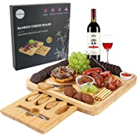 Cheese Board and Knife Set, Bamboo Charcuterie Board with Magnetic Slide-Out Drawer and 2 Ceramic Bowls