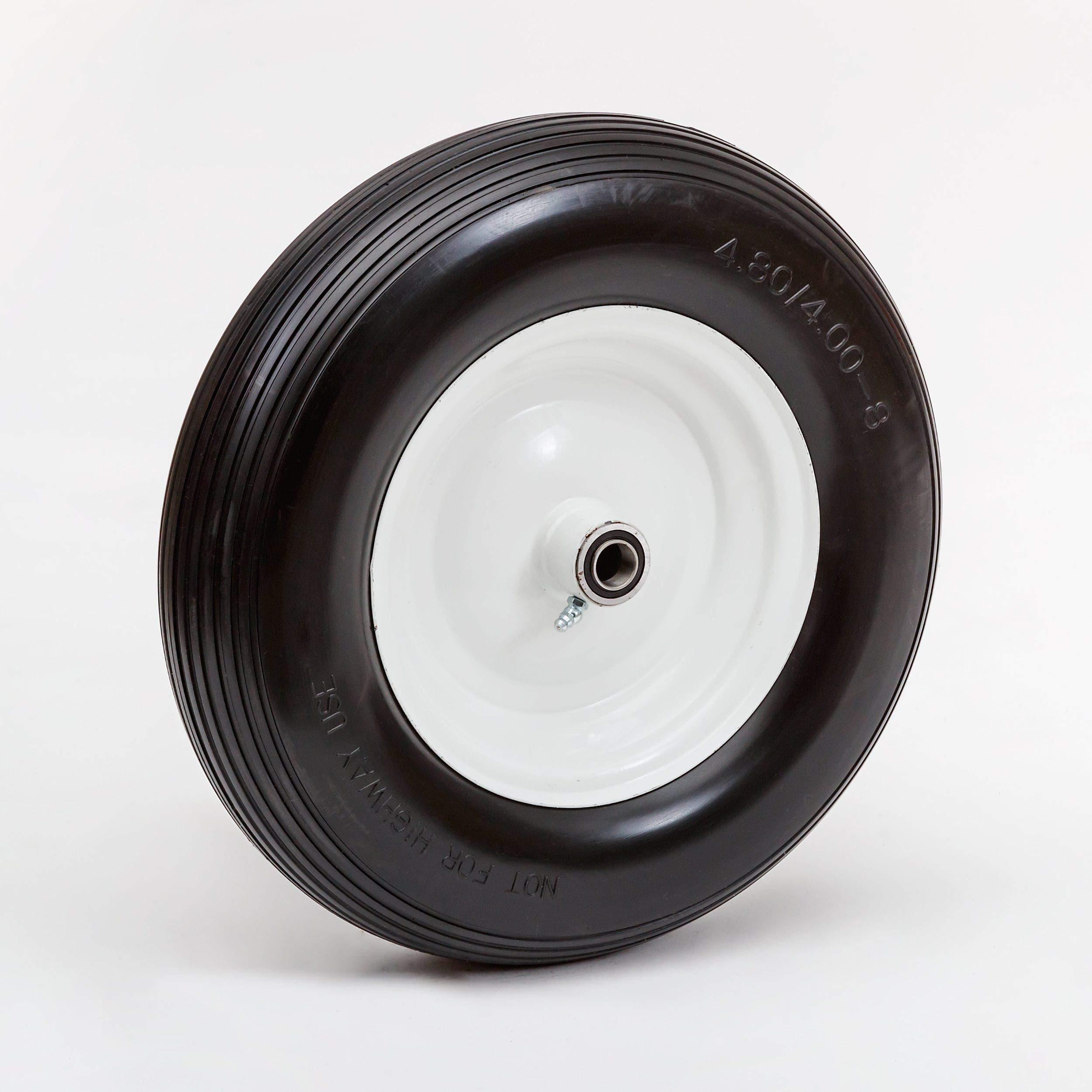 16'' Flat Free Wheelbarrow Tire, White Rim, Wheel/Hub/Bearing Size Options, Ribbed Tread Pattern