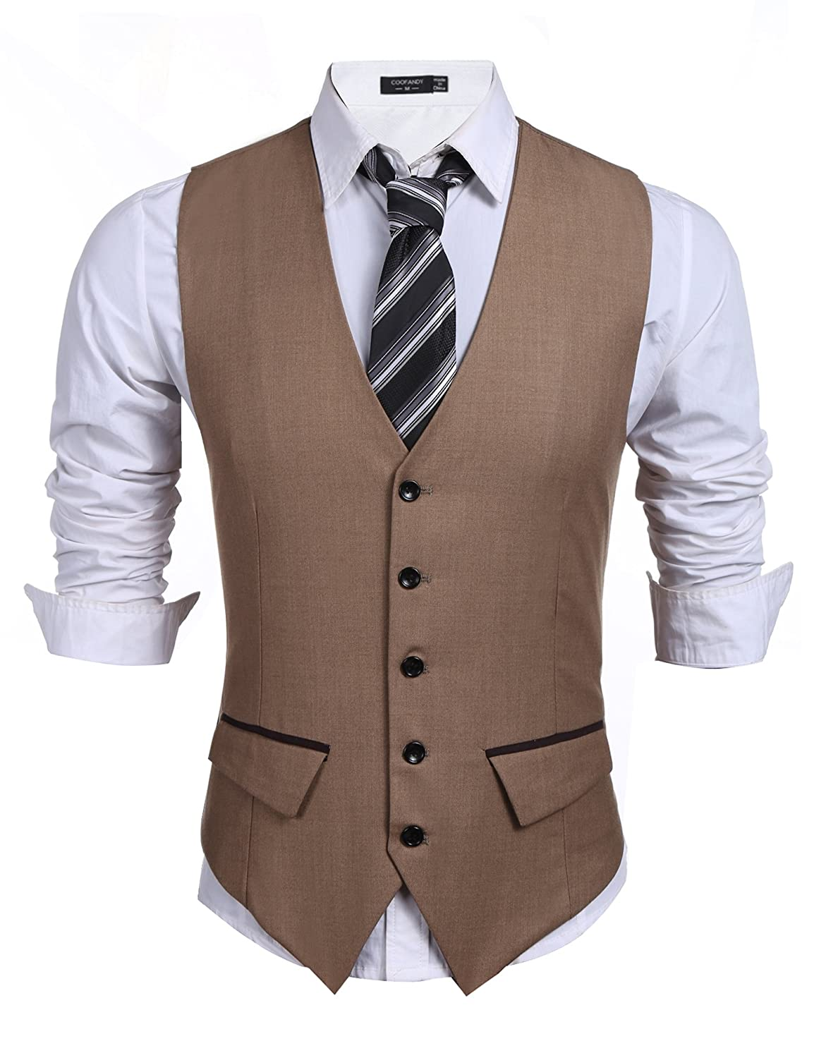Coofandy Men's Slim Fit Business Vest Waistcoat With Pockets