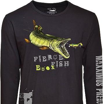 Fladen – Pesca – Hambre Pike – 100% algodón Negro de Manga Larga Camisetas – características Pike señuelo de Ataque diseño – Ideal para Aquellos Que Love Peces Depredadores: Amazon.es: Deportes y aire libre