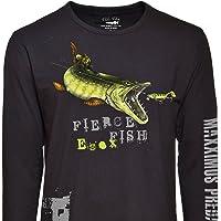 Fladen–Pesca–Hambre Pike–100% algodón Negro de Manga Larga Camisetas–características