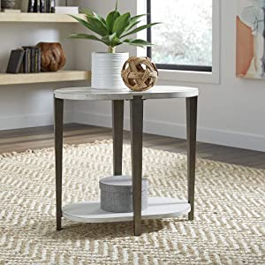 Liberty Furniture Industries Sterling Chair Side Table, W25 x D15 x H24, White