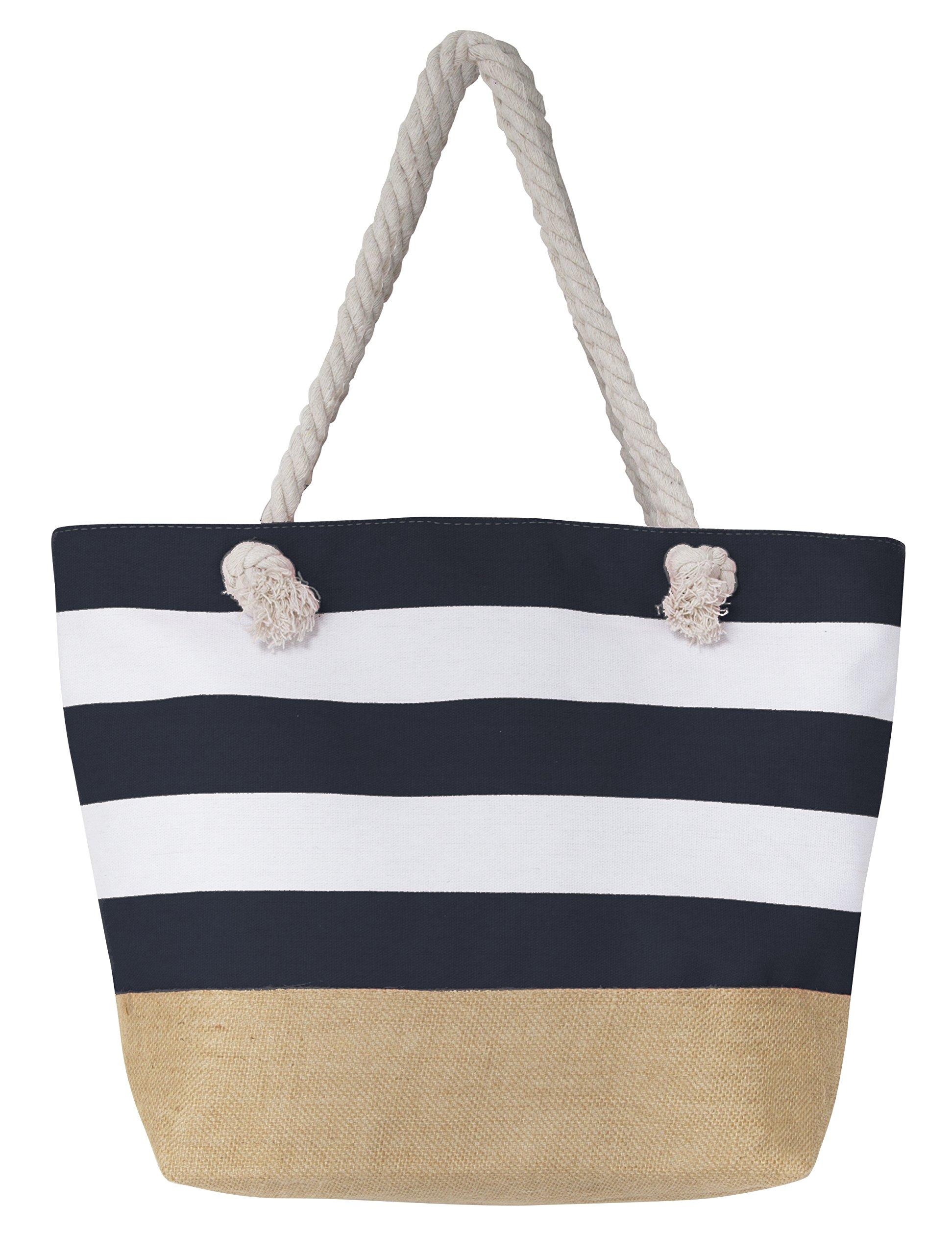 Leisureland Canvas Tote Beach Bag, Water Resistant Shoulder Tote Bag (L20''xH15''xW6'', Stripe Navy Blue)