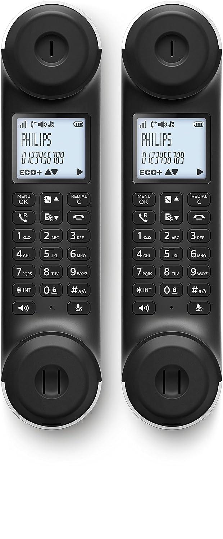 Philips M5602WG//23 pantalla de 1.8, manos libres, ECO plus Tel/éfono inal/ámbrico duo con registro de llamadas blanco y negro