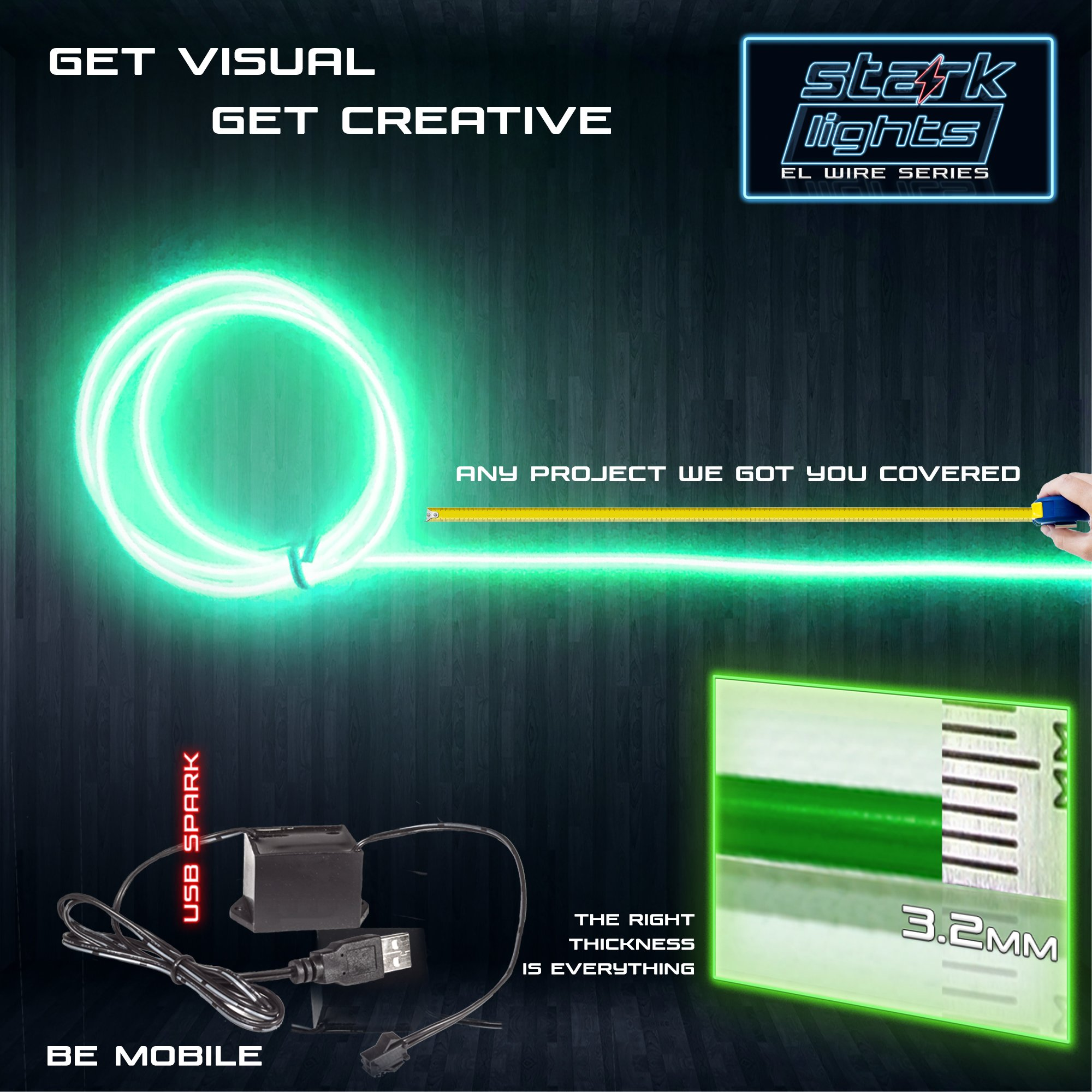 5m/16.4ft Large 3.2 mm Thick - Green Neon LED Light