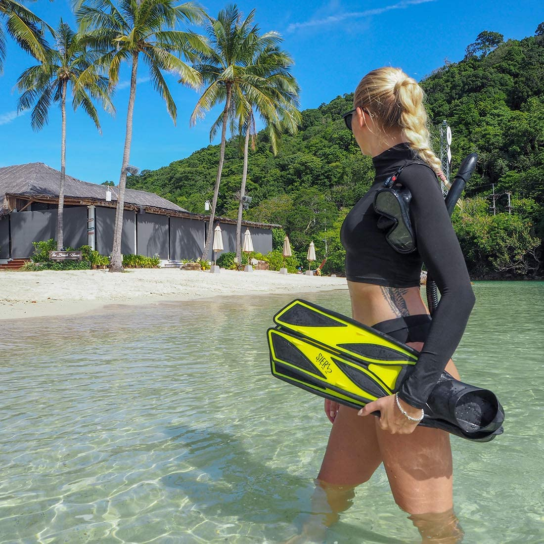SIER FINS Soft Silicone Full-Foot with Efficient Thrust Swim Fins Secured Tight Fitting Fins Without Any Weak Back Straps