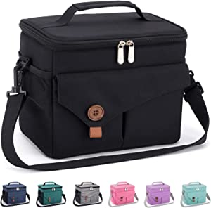 Reusable Lunch Bag with Detachable Shoulder Strap, Leak-proof Lunch Box for Office/School/Picnic/Beach, Large Capacity Cooler Tote Bag for Kids/Adult (black)