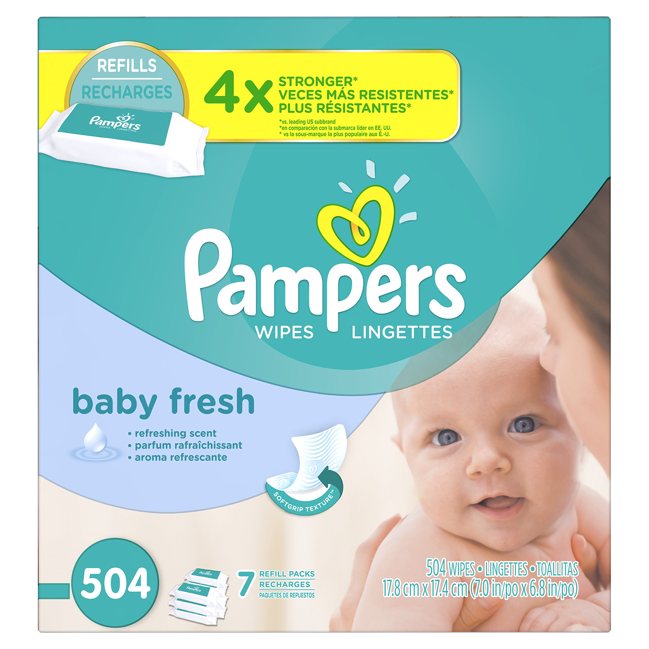 Pampers Baby Fresh Water Baby Wipes 7X Refill Packs, 504 Count by Pampers