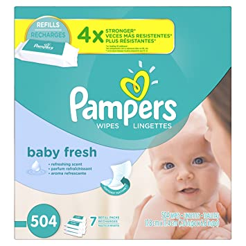 Pampers Baby Fresh Water Baby Wipes 7X Refill Packs, 504 Count