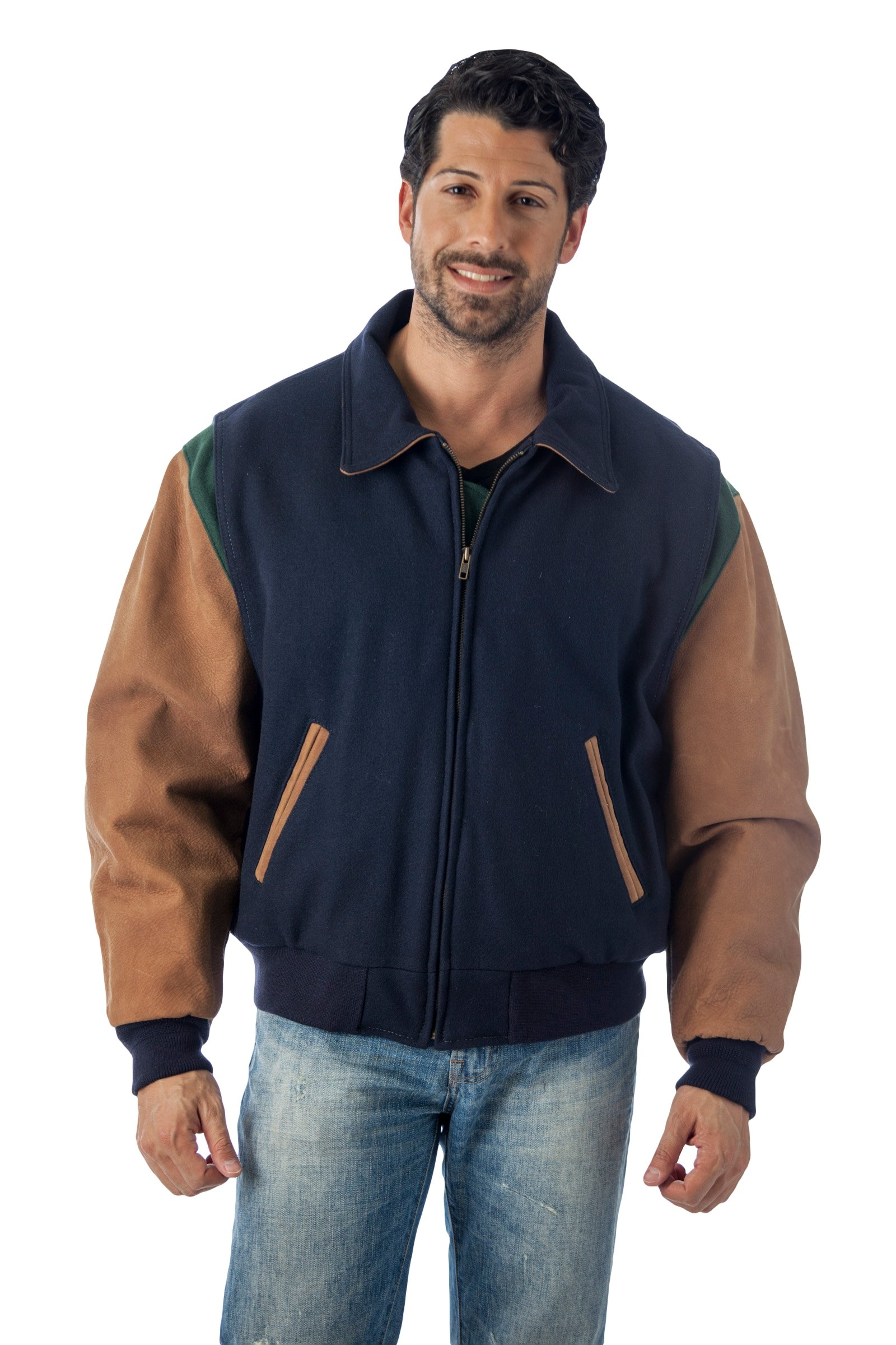 Reed Men's Premium Quality Leather Letterman Varsity Jacket Made in USA (2XT, NAVY)