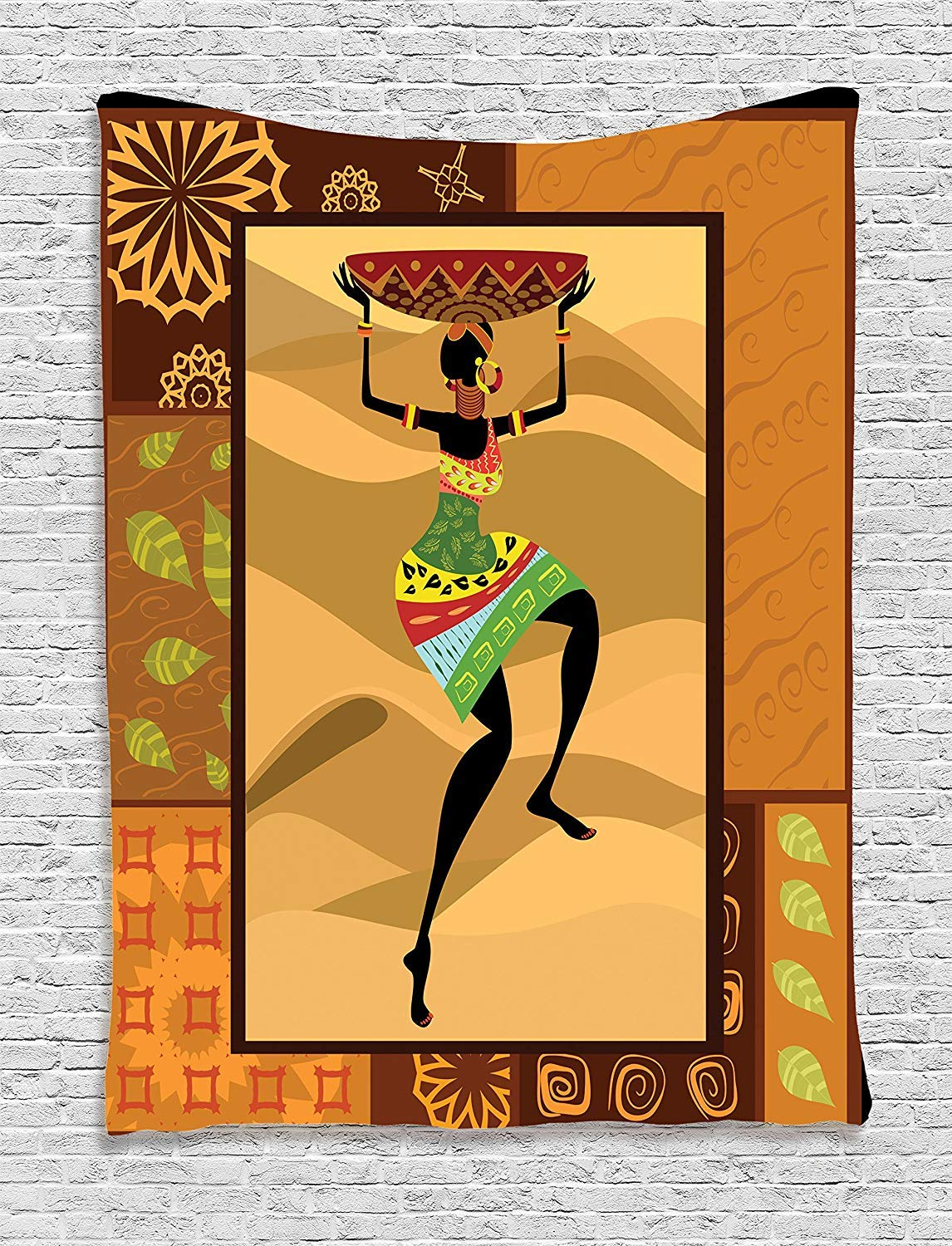 THndjsh Afro Decor Tapestry, Ethnic Pattern with Traditional Tribal Boho Elements Exotic Zulu Woman Print, Wall Hanging for Bedroom Living Room Dorm, 40WX60L Inches, Ginger Brown