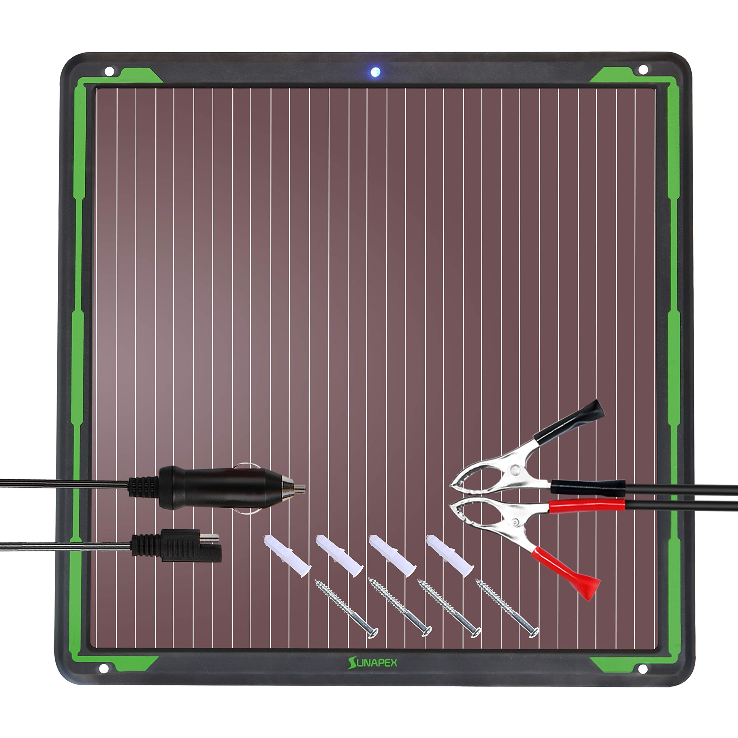 SUNAPEX 7.5W 12V Solar trickle Charger,Battery Charger,Battery Tender Portable Power Solar Panel Suitable for Automotive, Motorcycle, Boat, ATV,Marine, RV, Trailer, Snowmobile, etc.