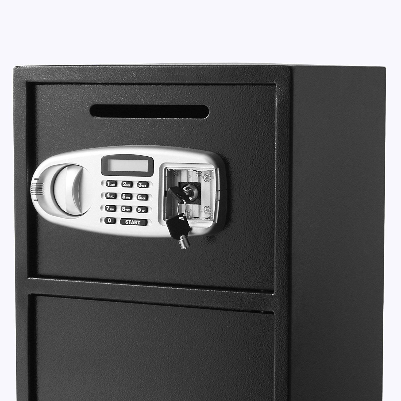 Tecmaqui Caja de Fuerte Caja Fuerte de Seguridad con 2 Cajas Separadas Caja Fuerte Digital de Depósito para Seguridad de Joyería, Efectivo, Datos y Otros ...