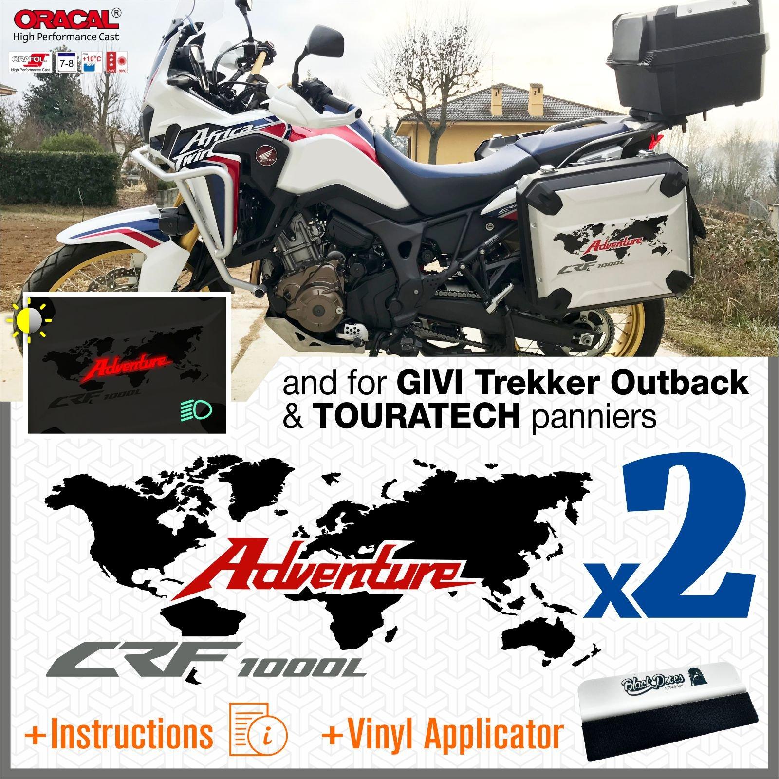 Black KIT 2 STICKER COVERS HONDA AFRICA TWIN CRF1000L VHA-001