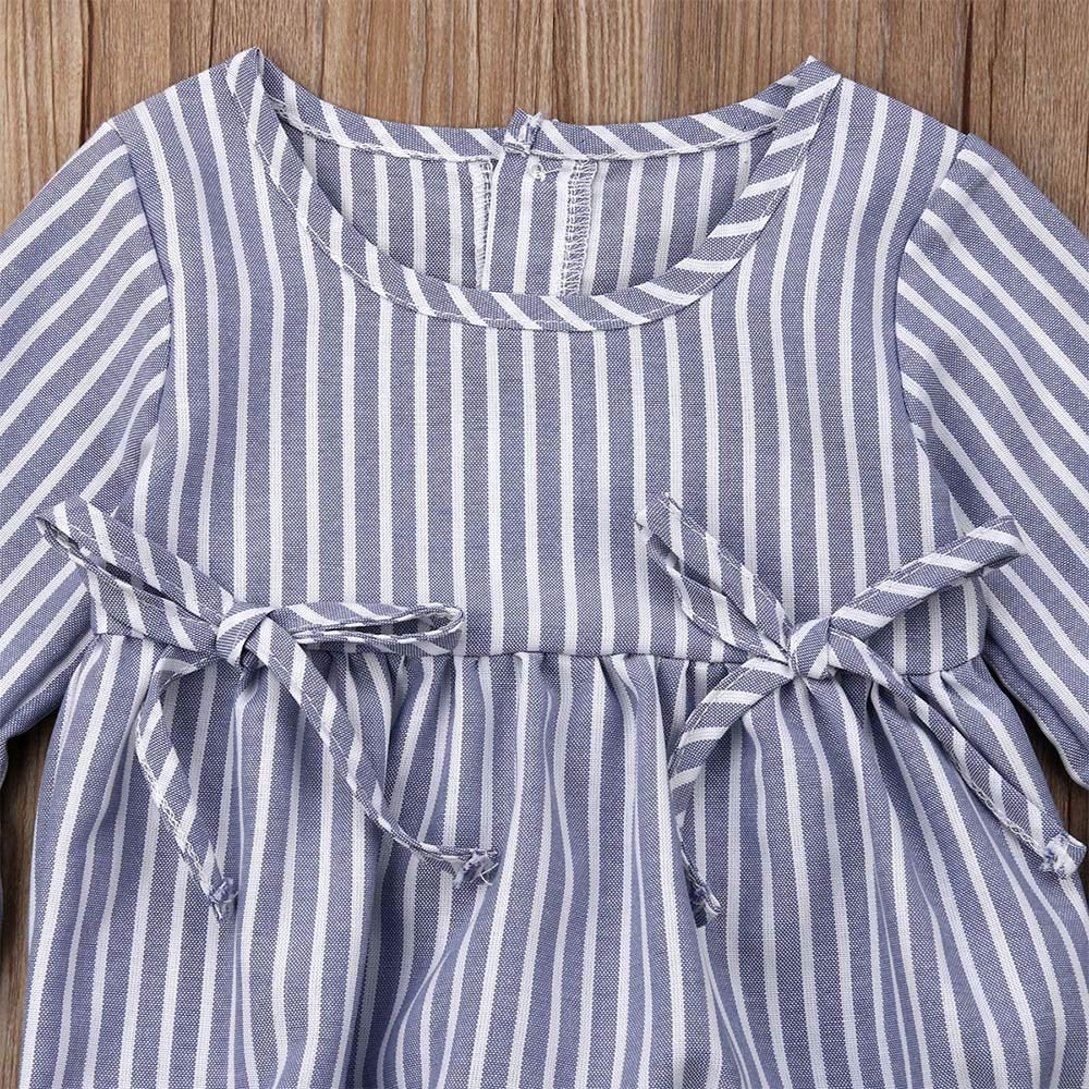 MISSugar Toddler Baby Girl Sister Matching Clothes Summer Romper Dress Clothes Cute Striped Ruffle Bell Sleeve Jumpsuit