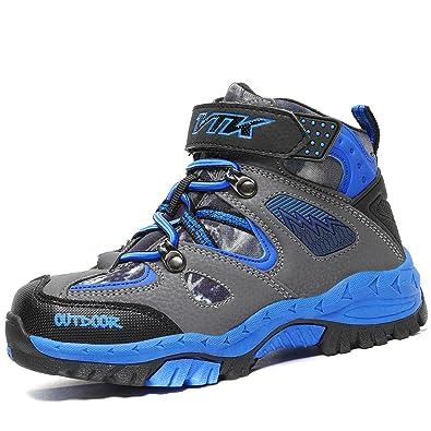 Kids Hiking Shoes Walking Snow Boots Antiskid Steel Buckle Sole Waterproof Winter Outdoor Climbing Cotton Sneaker