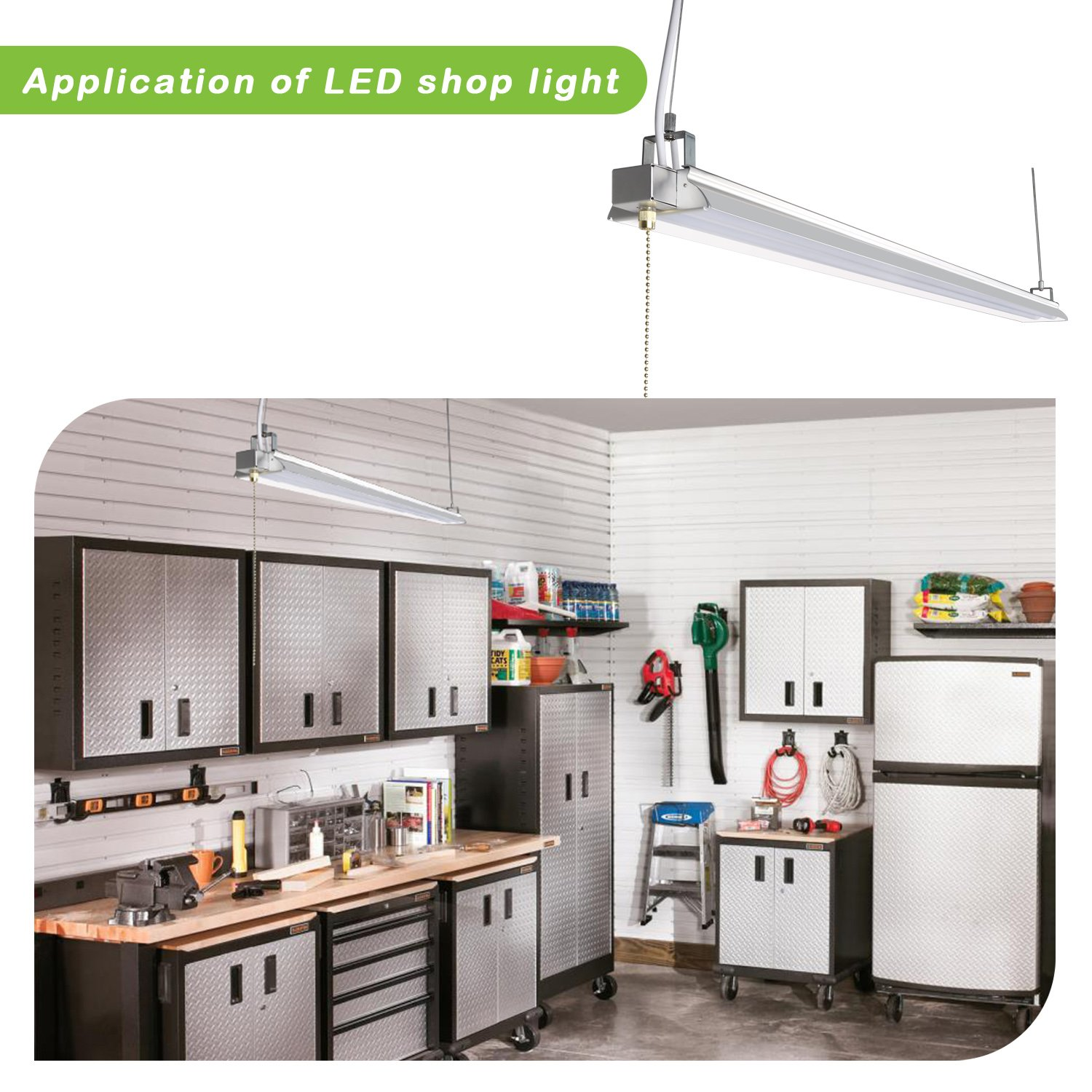 Hykolity 4FT 40W LED Shop Light with Pull Chain, 4200lm Hanging Garage Utility Light with Cord, Robust Aluminium Body, 5000K Workbench Light, 64w Fluorescent Fixture Equivalent, 5year Warranty-4 Pack by hykolity (Image #6)