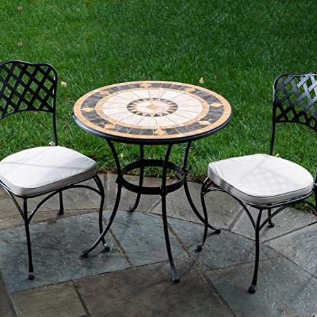Alfresco Home Compass Indoor Outdoor Round Mosaic Bistro Dining Set, 30 Inch