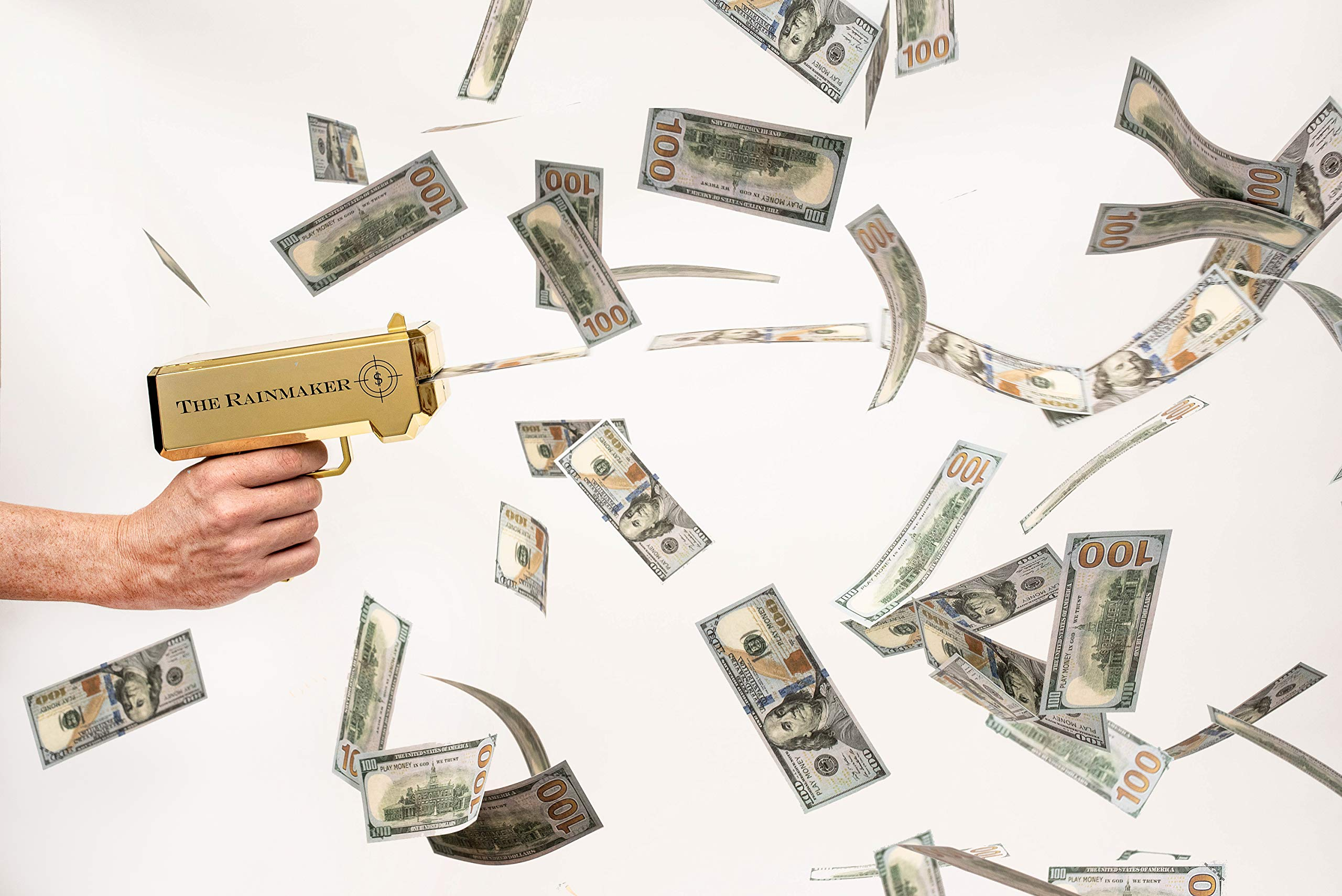 All Out Solutions The Rainmaker Money Gun | $10,000 Play Money | Money Looks Real! | Metallic Gold | Impress Your Friends with This Fun Party Toy | Shoot Cash and Make It Rain by All Out Solutions (Image #2)