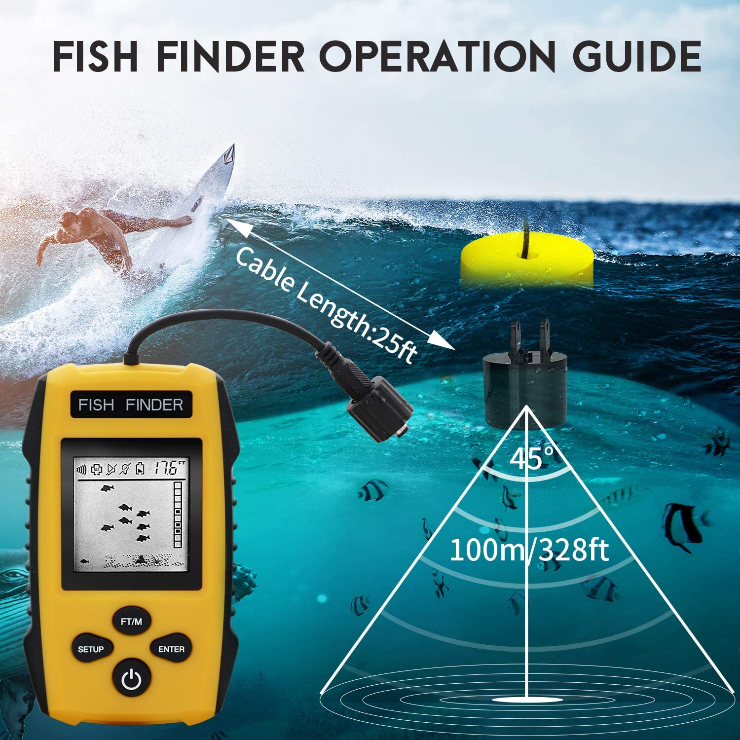 Contour Readout Handheld Fishfinder Depth readout 3ft to 328ft RICANK Portable Fish Finder with Sonar Sensor Transducer and LCD Display 5 Modes Sensitivity Options Fish Depth Finder Yellow 1m 100m