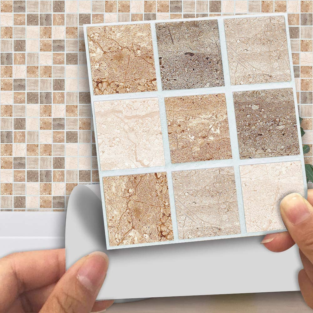Dfvvr Mosaic Wall Tile Transfers Stickers 18pcs Self Adhesive Waterproof Marble Tile Sticker Bathroom Kitchen Art Decals Home Decoration Beige Amazon Co Uk Baby