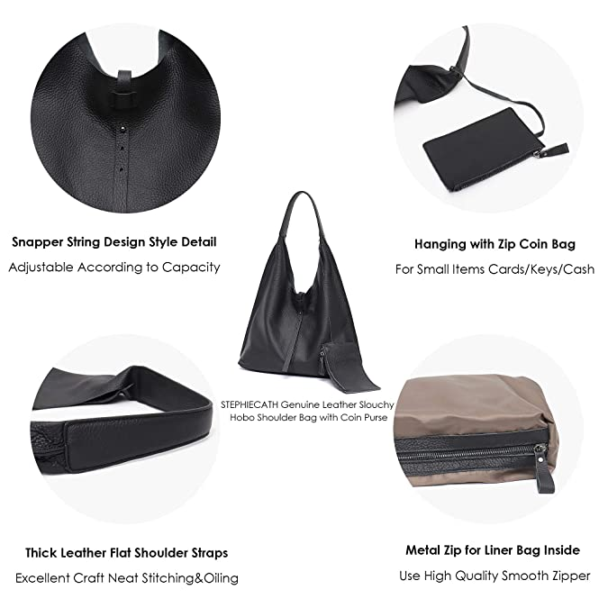 a67b302b981d Amazon.com  STEPHIECATH Women Genuine Leather Shoulder Bag Slouchy Hobo  Casual Soft Tote Ladies Vintage Bag (Black)  Shoes