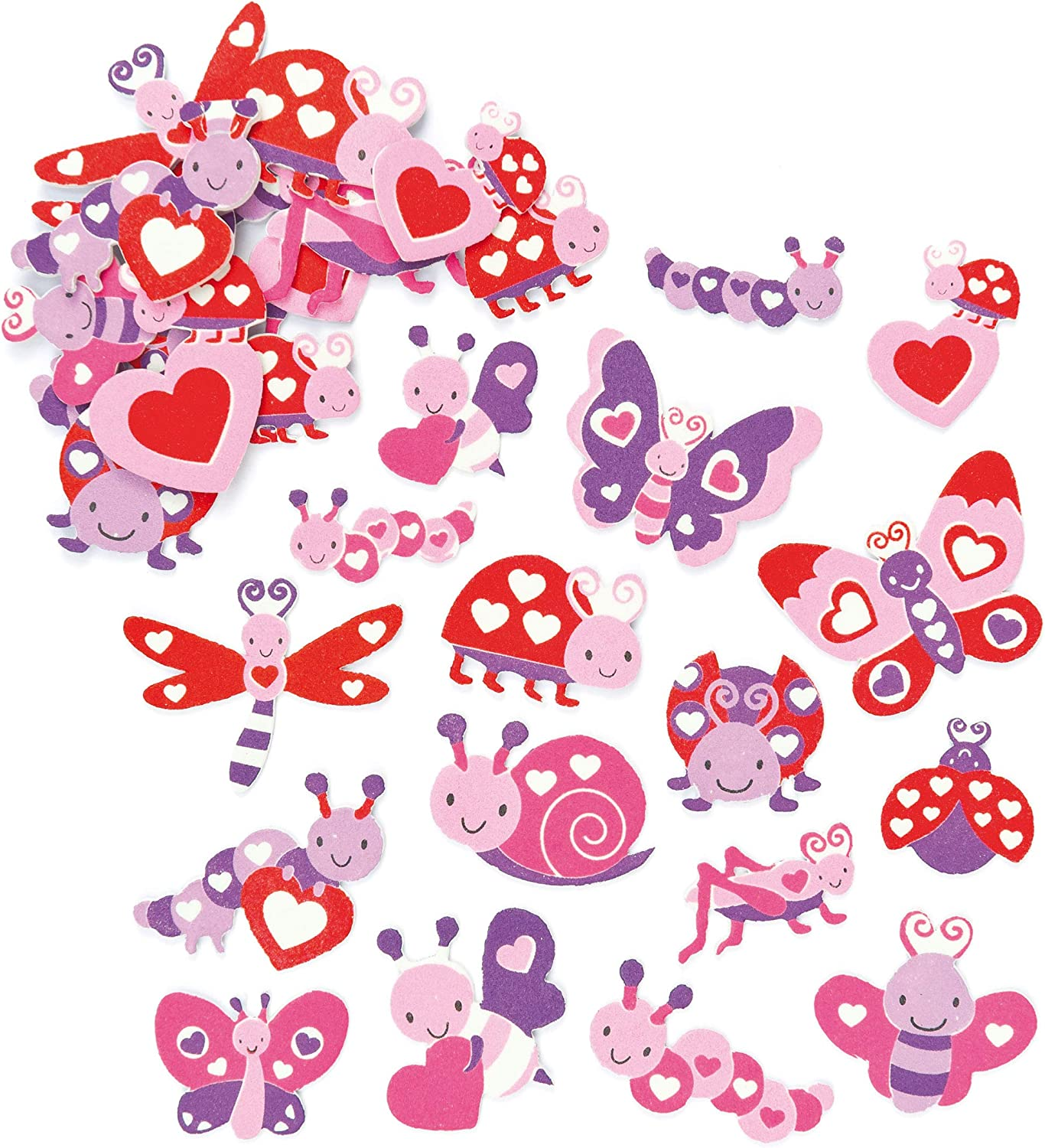 Baker Ross Love Bug Foam Stickers (Pack of 120) for Kids to Decorate Collage Cards & Craft