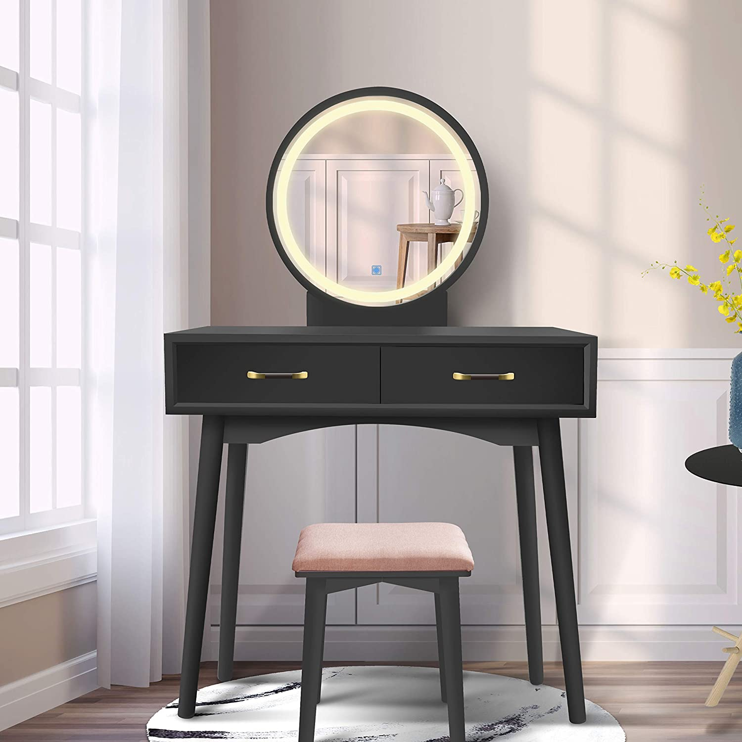 Vanity Table Set with Lighted LED Touch Screen Dimming Round Mirror,Makeup Dressing Table with 2 Sliding Drawers, 1 Cushioned Stool for Bedroom, Bathroom (Black)