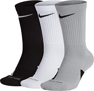 4ca2be0fdd87 NIKE Elite Basketball Crew Socks 3 Pack (Black White Wolf Grey