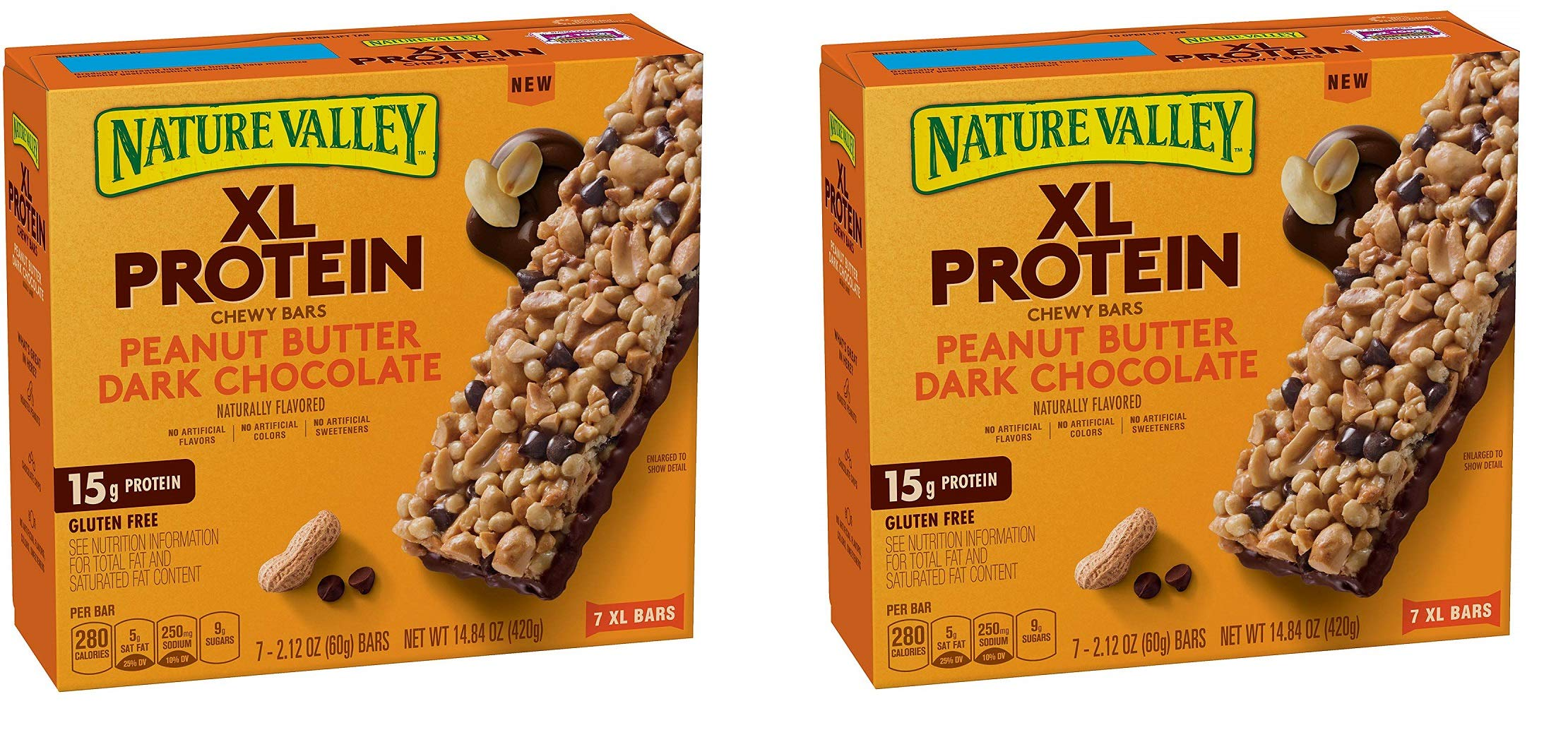Nature Valley Chewy Granola Bar, XL Protein, Gluten Free, Peanut Butter Dark Chocolate, 7 Bars, 2.12 oz, 42 Bars (2 Boxes)