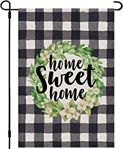 Whaline Home Sweet Home Garden Flag Double-Sided Yard Flag White Black Buffalo Plaid Check Sign Waterproof Rustic Flower Wreath Farmhouse Burlap Flag for Yard Spring Outdoor Decor, 12.5 x 18 Inch