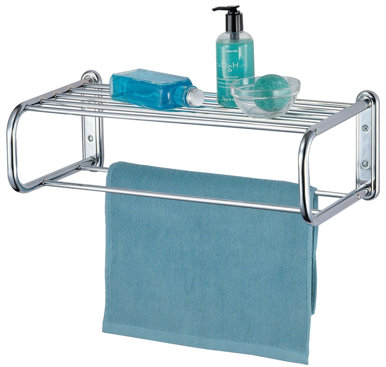Curved Chrome Wall Mounted Bathroom Towel Holder Shelf Storage Rack