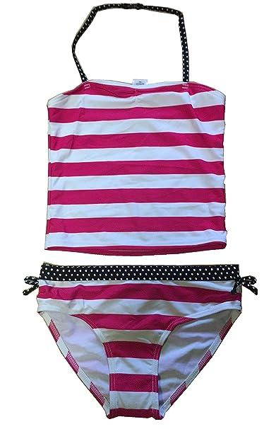 b36c86bdb10a Amazon.com: Kids Girls Two Piece Bandeau Tankini Swimsuit Halter Strap Swimwear  Bathing Suit Set Polka DOT & Striped RED White Printed: Clothing