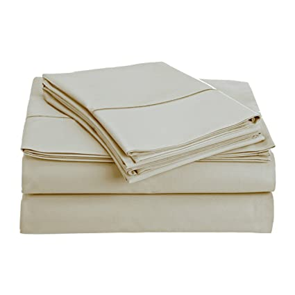 Audley Home 800 Thread Count Sheet Set (Ivory, Full) 100% Long Staple