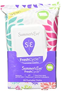 Summer's Eve FreshCycle Cleansing Cloths | Reduces Period Odor | 24 Count
