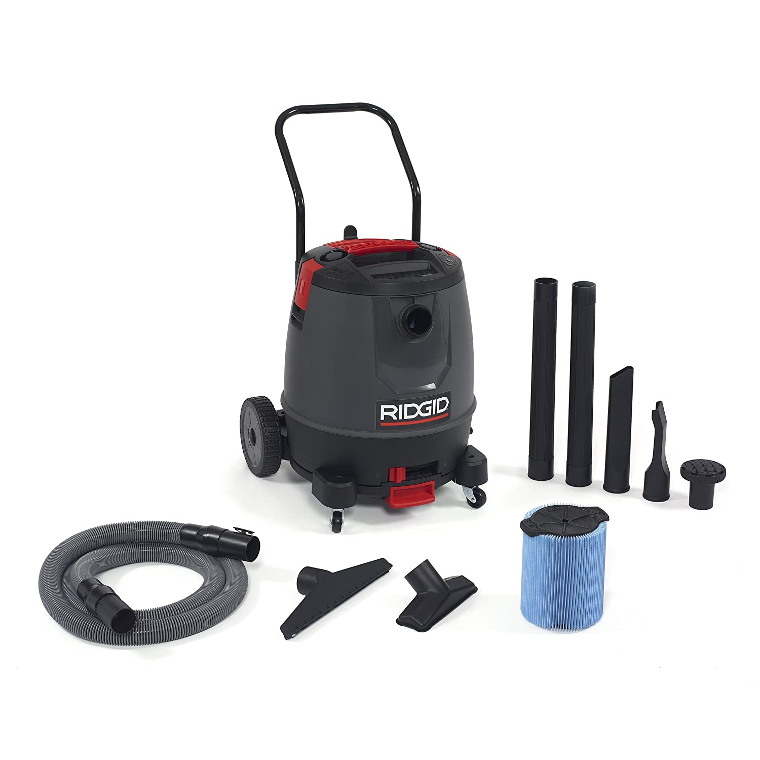 RIDGID 50338 1650RV Motor-on-Bottom Wet Dry Vacuum, 16-Gallon Shop Vacuum with Cart, 6.5 Peak HP Motor, Large Wheels, Pro Hose, Drain, Blower Port