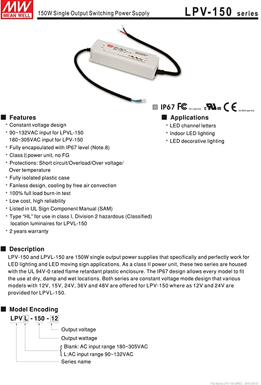 81UvKtlPWoL._SY790_ amazon com mean well lpvl 150 12 12v 10a 120w single output led  at gsmportal.co