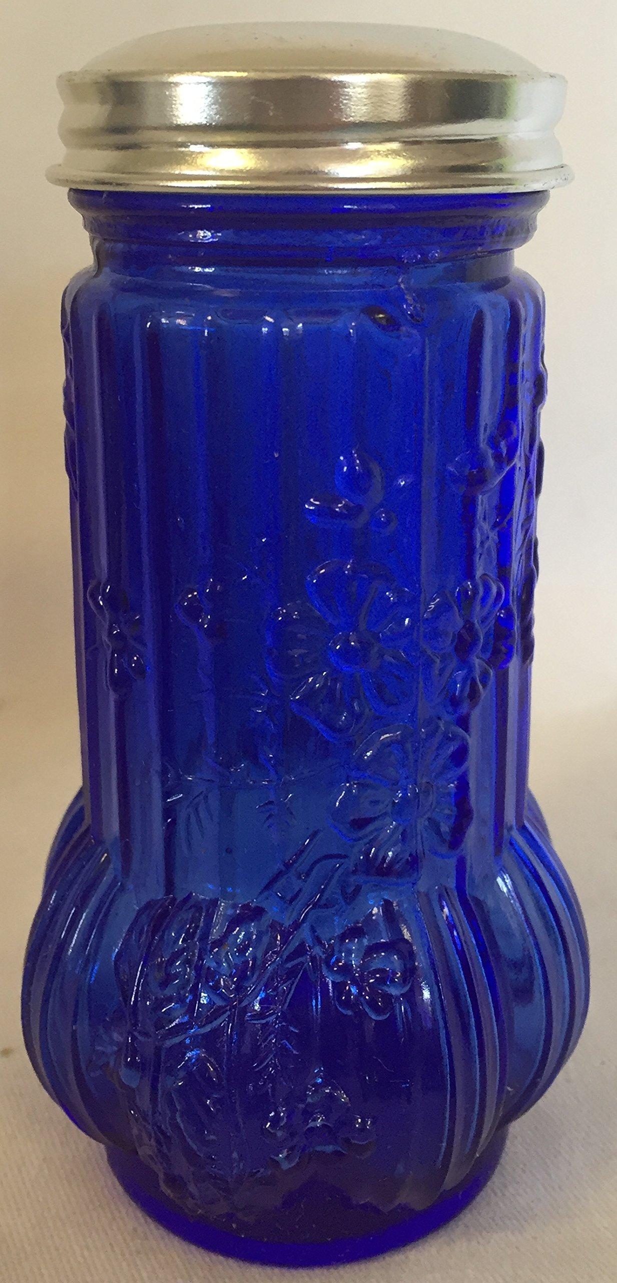 Cobalt Blue Glass Floral Sugar Shaker