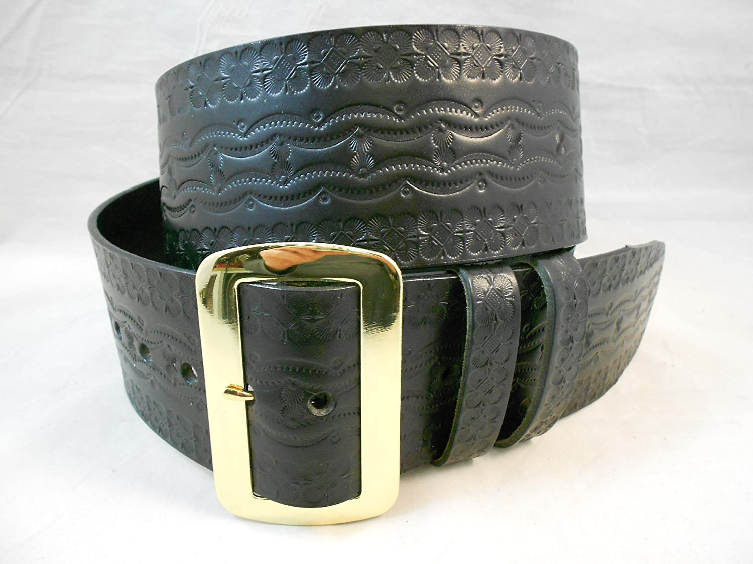 Santa Claus Hand Tooled Solid Leather Belt - DeluxeAdultCostumes.com