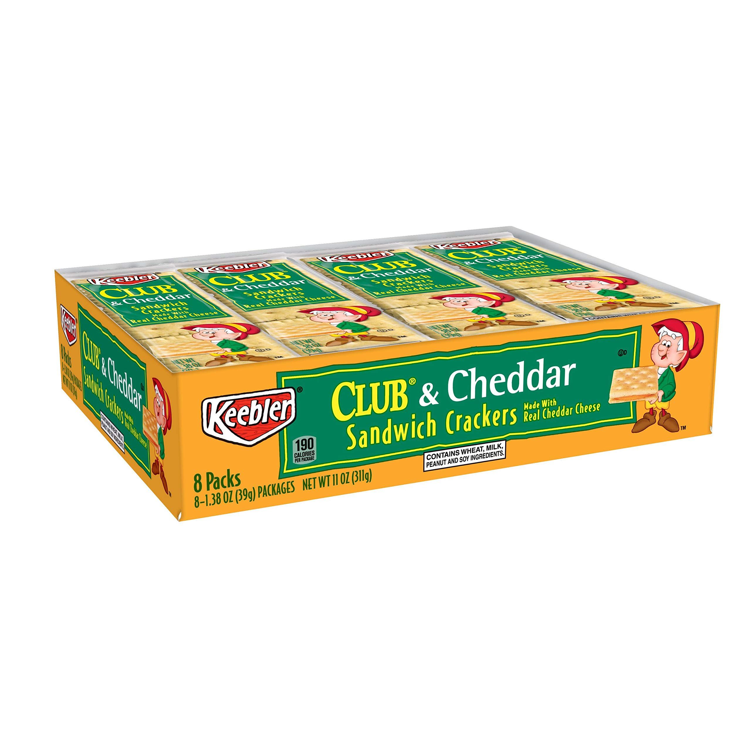Keebler Club and Cheddar Sandwich Crackers, Single Serve, 1.38 oz Packages (8 Count)(Pack of 12) by Club Crackers