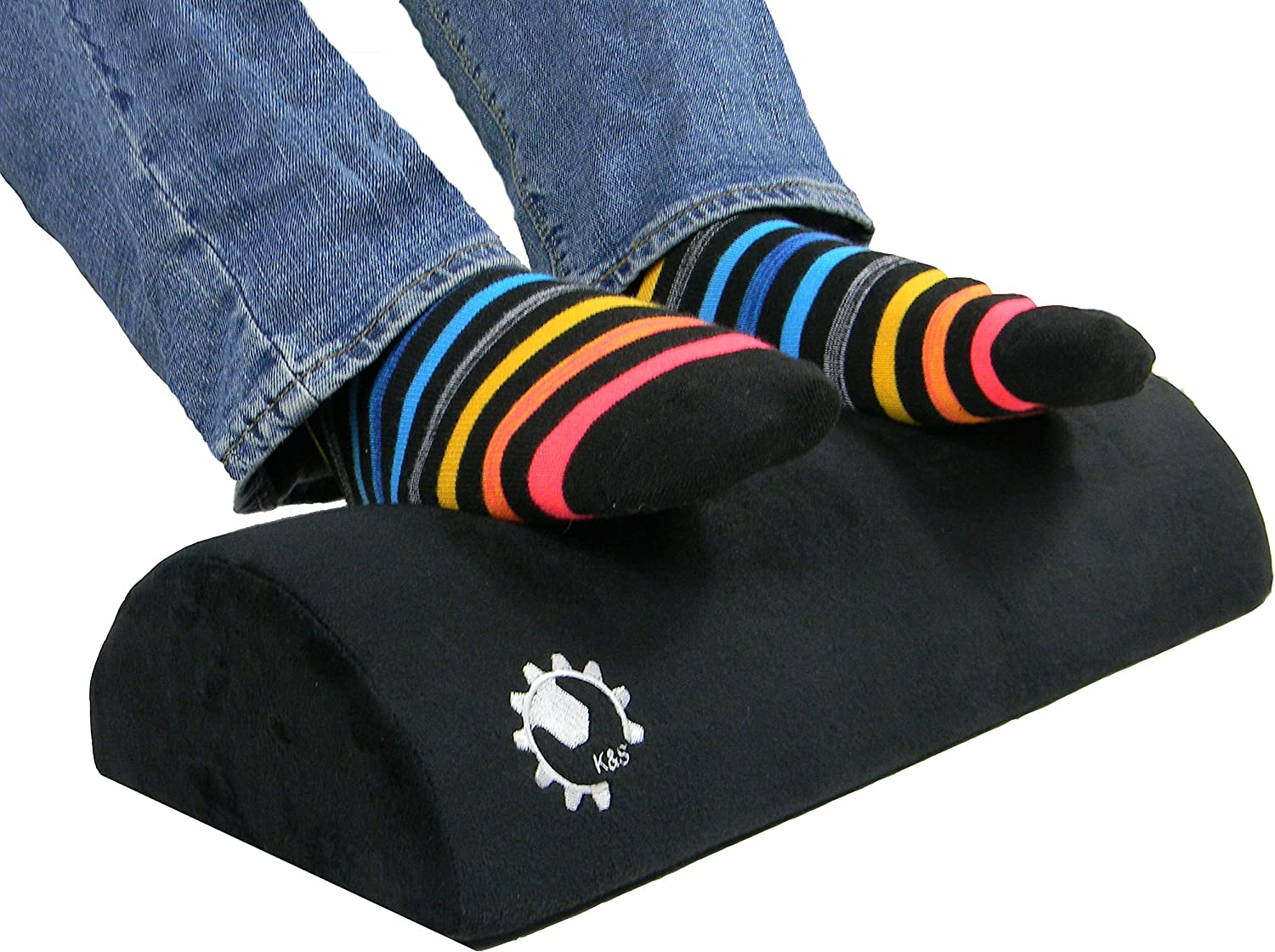 K S Solutions Foot Rest Cushion for Under Desk, Ergonomic Support for Foot, Leg and Knee Pain. Help Relieve Sciatica. Ideal for Office or Home. Perfect Size Optimum Leg Clearance. Black
